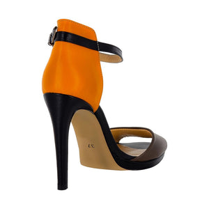 Deva Multi Color Black Orange Brown Sandal (Back View)