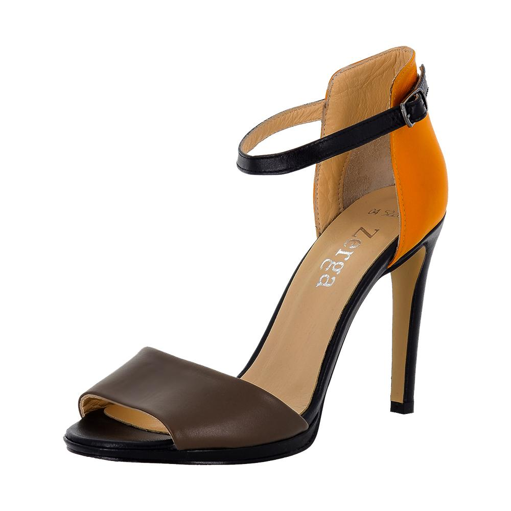 Deva Multi Color Black Orange Brown Sandal (Left View)