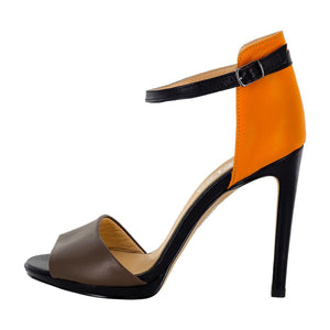 Deva Multi Color Black Orange Brown Sandal (Side View)