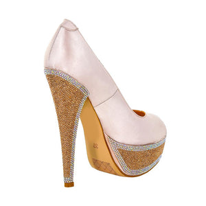 Hedla Pink Sateen Rhinestone Shoes (Back View)