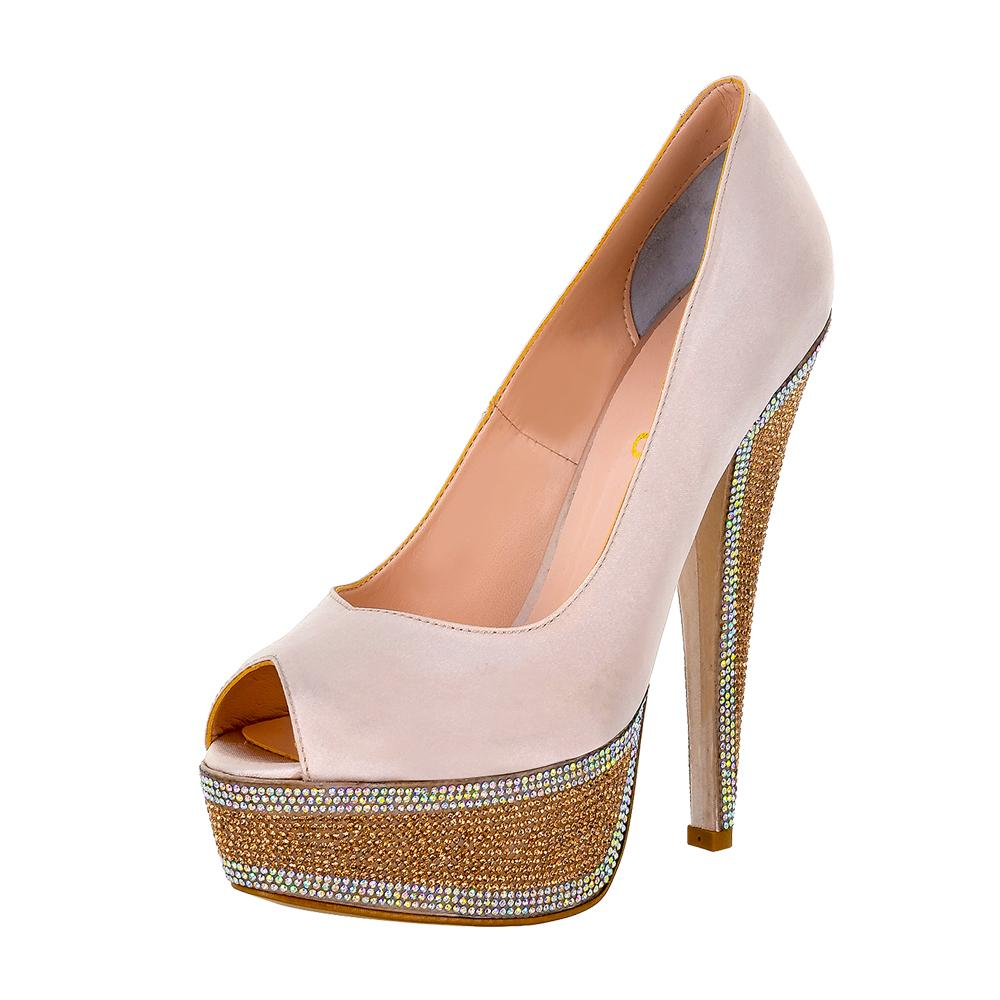 Hedla Pink Sateen Rhinestone Shoes (Left View)