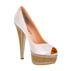 Hedla Pink Sateen Rhinestone Shoes (Right View)
