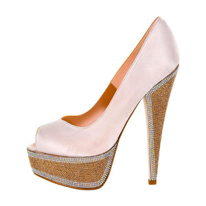 Hedla Pink Sateen Rhinestone Shoes (Side View)