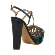 Keri Emerald Green Gold Sandal (Back View)