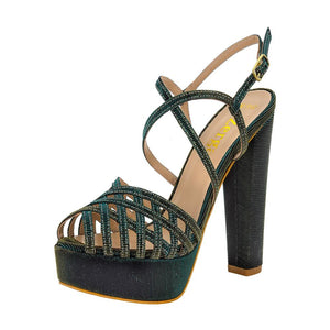 Keri Emerald Green Gold Sandal (Left View)