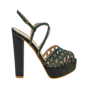 Keri Emerald Green Gold Sandal (Side View)