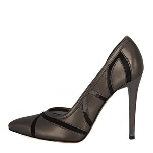 LALE Anthracite Tulle Stiletto (Side View)