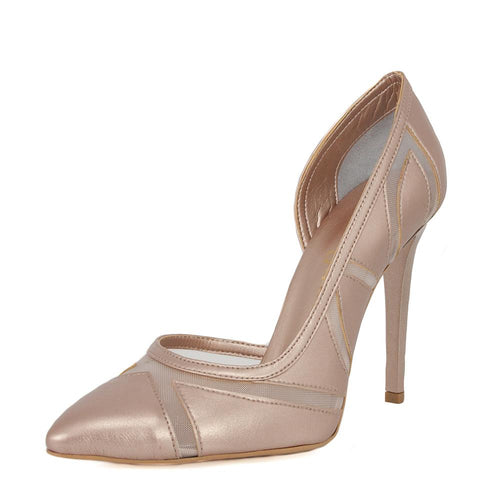 LALE Pearl Pink Tulle Stiletto (Left View)