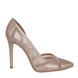 LALE Pearl Pink Tulle Stiletto (Side View)