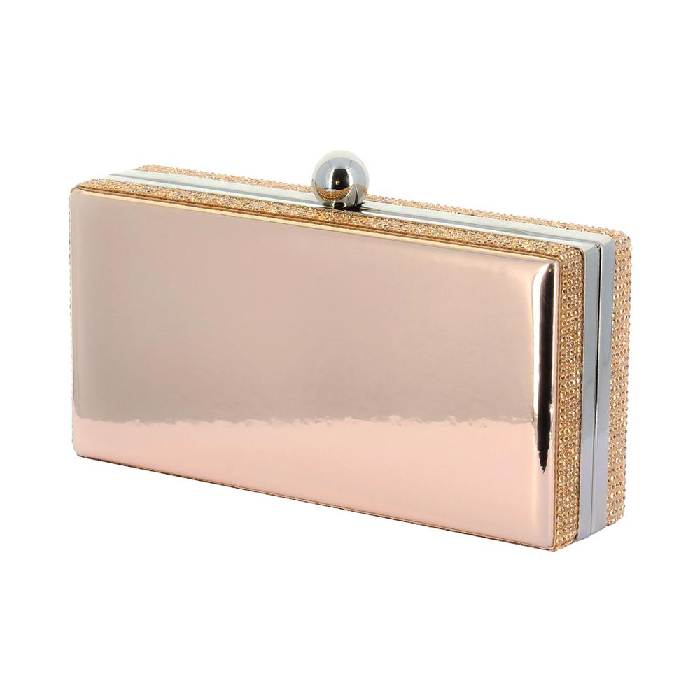 Lasi Rose Gold Mirror Rhinestone Clutch