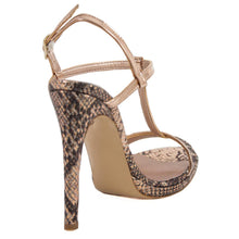 Murr Rose Gold Snake Skin Mirror Sandal (Back View)