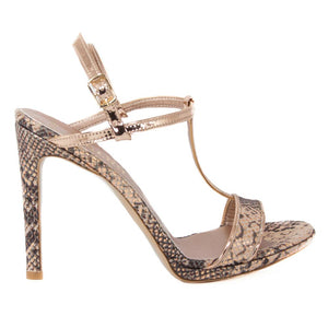 Murr Rose Gold Snake Skin Mirror Sandal (Side View)