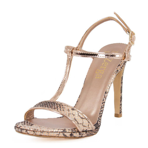Murr Rose Gold Snake Skin Mirror Sandal (Left View)