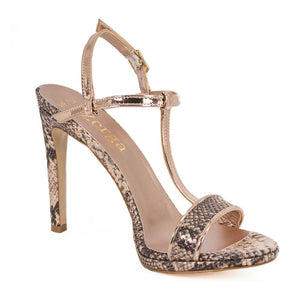 Murr Rose Gold Snake Skin Mirror Sandal (Right View)