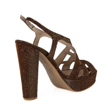 Peri Bronze Gold Platform Sandal (Back View)