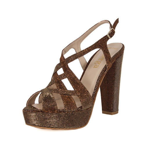 Peri Bronze Gold Platform Sandal (Left View)