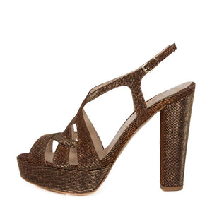 Peri Bronze Gold Platform Sandal (Side View)