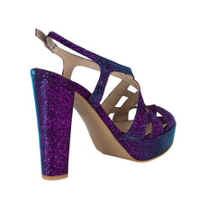 Peri Purple Aqua Platform Sandal (Back View)