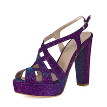 Peri Purple Aqua Platform Sandal (Left View)