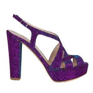Peri Purple Aqua Platform Sandal (Side View)
