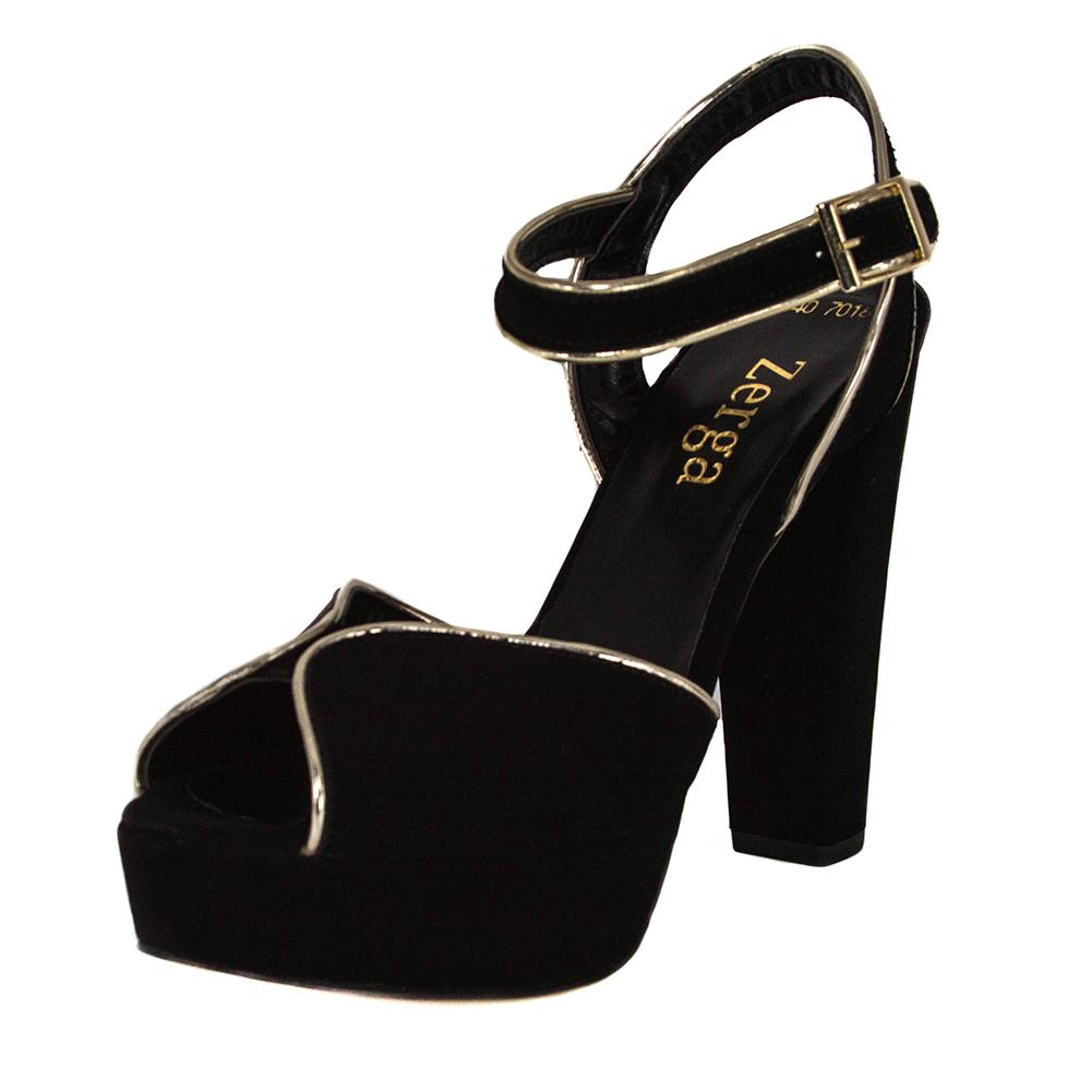 Resh Black Suede Gold Sandal (Left View)