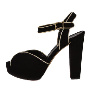 Resh Black Suede Gold Sandal (Side View)