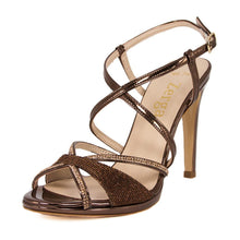 SADE Bronze Metallic Mirror Rhinestone Sandal (Left View)