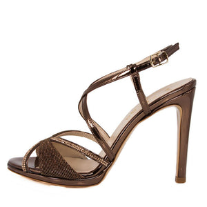 SADE Bronze Metallic Mirror Rhinestone Sandal (Side View)
