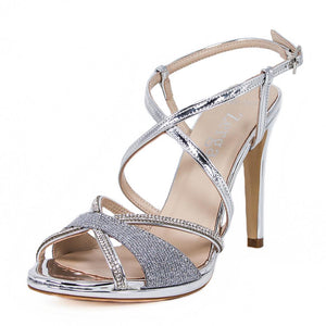 SADE Silver Metallic Mirror Rhinestone Sandal (Left View)