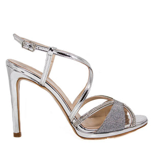 SADE Silver Metallic Mirror Rhinestone Sandal (Side View)