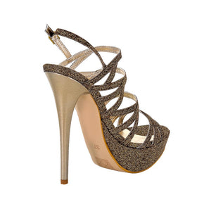 Selosh Gold Glitter Sandal (Back View)