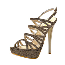 Selosh Gold Glitter Sandal (Left View)