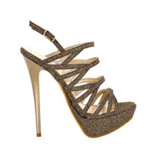 Selosh Gold Glitter Sandal (Side View)