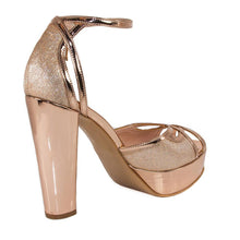 SINDO Rose Gold Mirror & Glitter Platform Sandal (Back View)