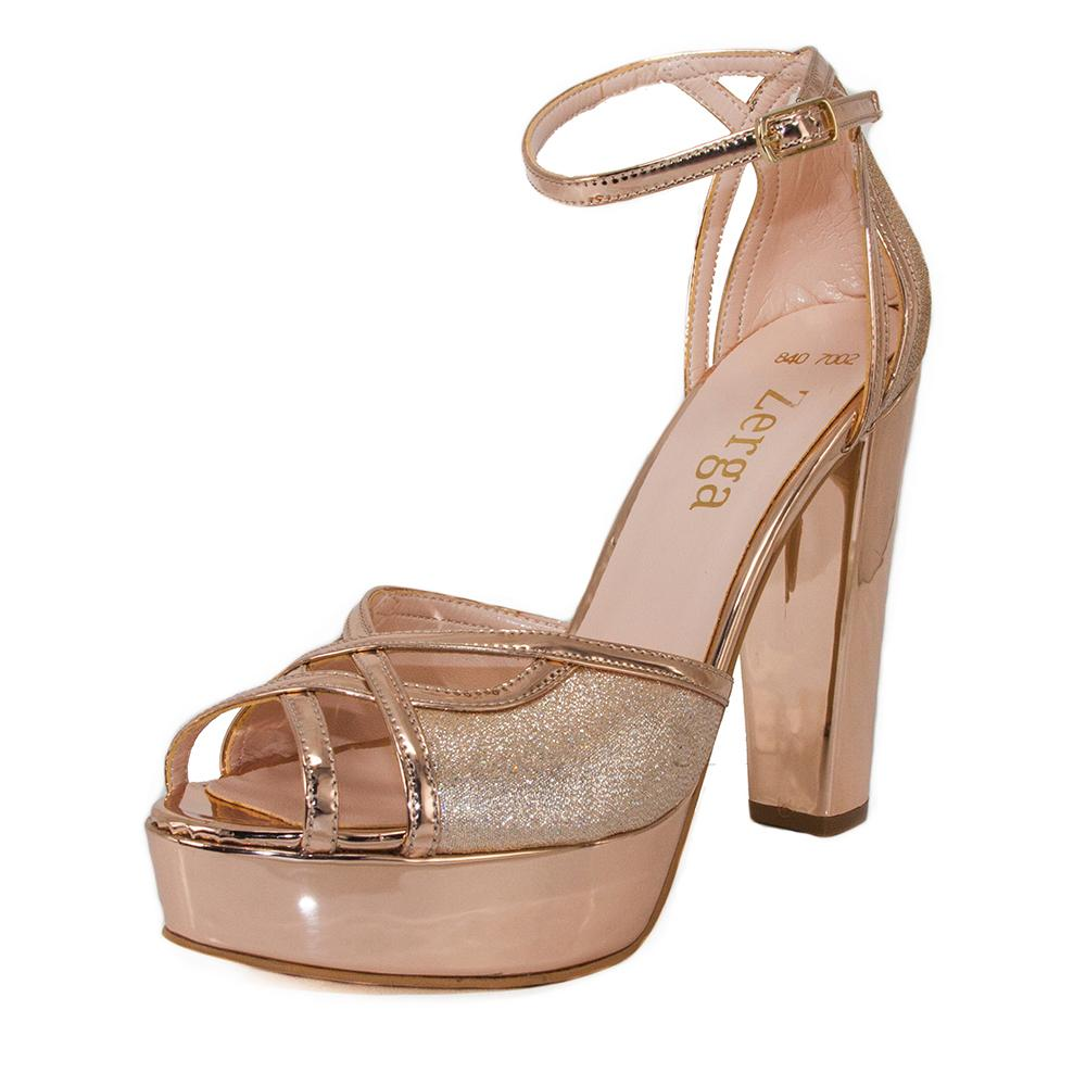 SINDO Rose Gold Mirror & Glitter Platform Sandal (Left View)