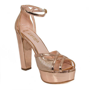 SINDO Rose Gold Mirror & Glitter Platform Sandal (Right View)
