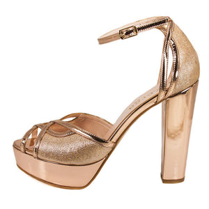 SINDO Rose Gold Mirror & Glitter Platform Sandal (Side View)