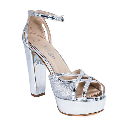 SINDO Silver Mirror Platform Wedding Shoes