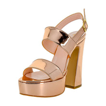 Tirre Rose Gold Mirror Sandal (Left View)