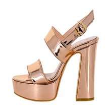 Tirre Rose Gold Mirror Sandal (Side View)