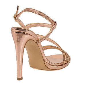 ZOLA  Rose Gold Metallic Mirror Rhinestone Sandal (Back View)