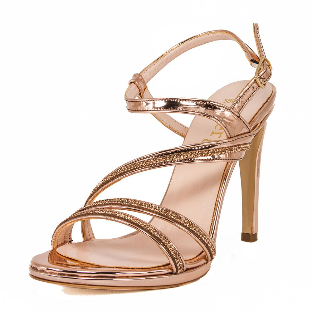 ZOLA  Rose Gold Metallic Mirror Rhinestone Sandal (Left View)