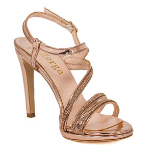 ZOLA  Rose Gold Metallic Mirror Rhinestone Sandal (Right View)