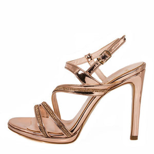 ZOLA  Rose Gold Metallic Mirror Rhinestone Sandal (Side View)