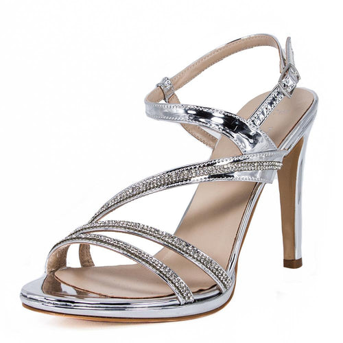 ZOLA  Silver Metallic Mirror Rhinestone Sandal (Left View)