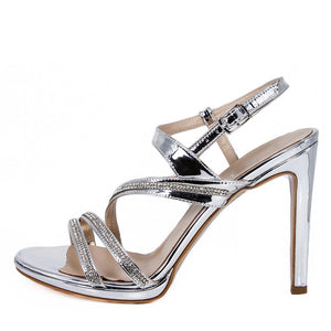 ZOLA Silver Metallic Mirror Rhinestone Sandal (Side View)