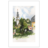 Chapel from the Park, St. Gilgen Watercolor Postcard