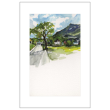 Tree Walking into St. Gilgen Watercolor Postcards
