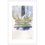 911 Memorial NYC Watercolor Postcard
