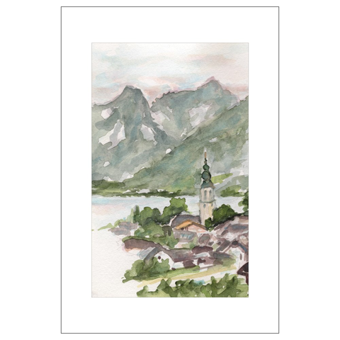 Classic St. Gilgen, Austria Watercolor Postcards